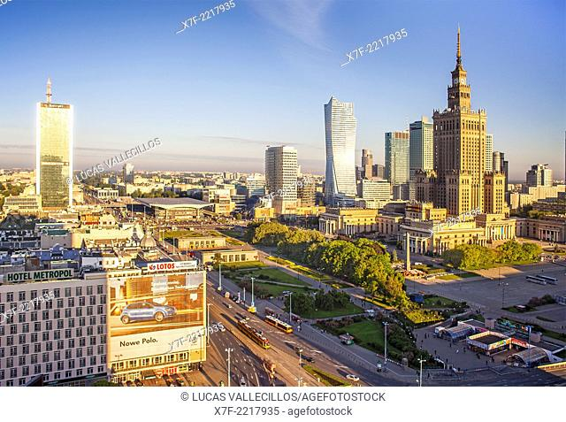 Skyscrapers and Palace of Culture and Science, in the center of Warsaw, Poland