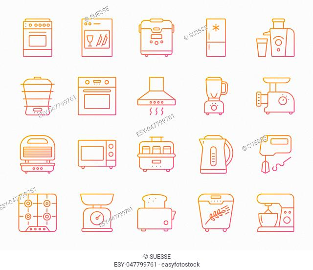 Kitchen Appliance thin line icons set. Outline vector web sign kit of equipment. Electronics linear icon collection includes microwave, gas, cooker