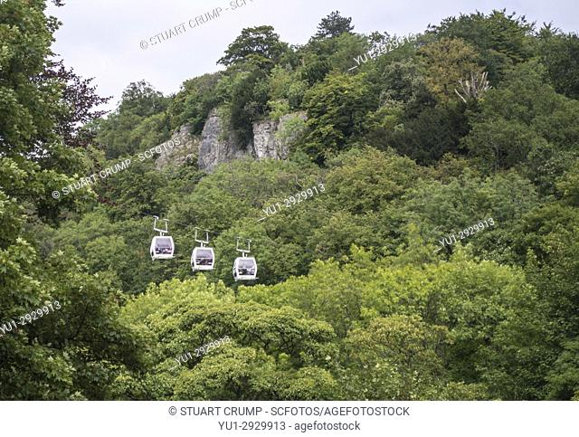 Cable Cars from the Heights of abraham ride at Matlock Bath in Derbyshire UK