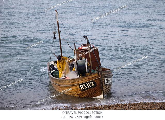England, East Sussex, Hastings, Fishing Boat at Sea