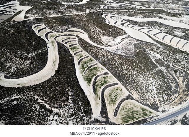Aerial view of drylands farming. Castejon de Monegros, Huesca, Aragon, Spain, Europe