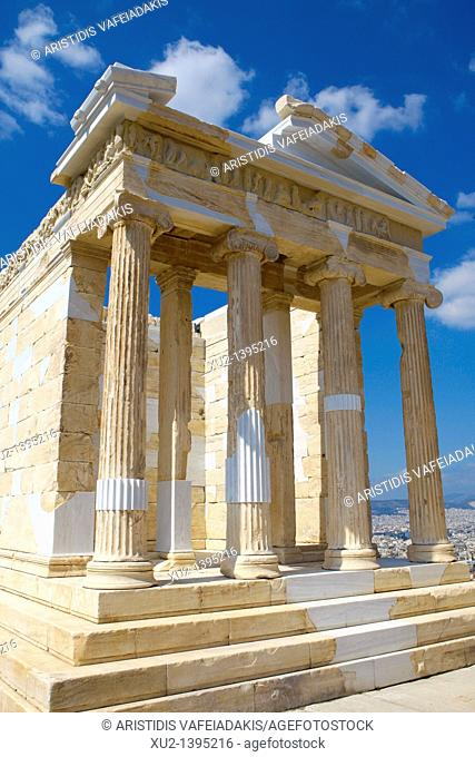 Restored temple of the Athena NikeApteros Nike or Athena Victory  An extensive, internationally acclaimed antiquity conservation and restoration programme has...