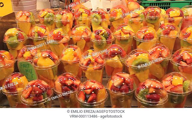 Fruit salads. La Boqueria Market. Barcelona, Catalonia, Spain