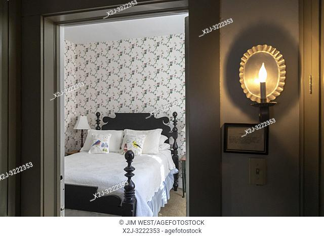 Marshall, Michigan - A bedroom in the National House Inn bed and breakfast. The Inn was built in 1835 and is believed to have been a stop on the Underground...