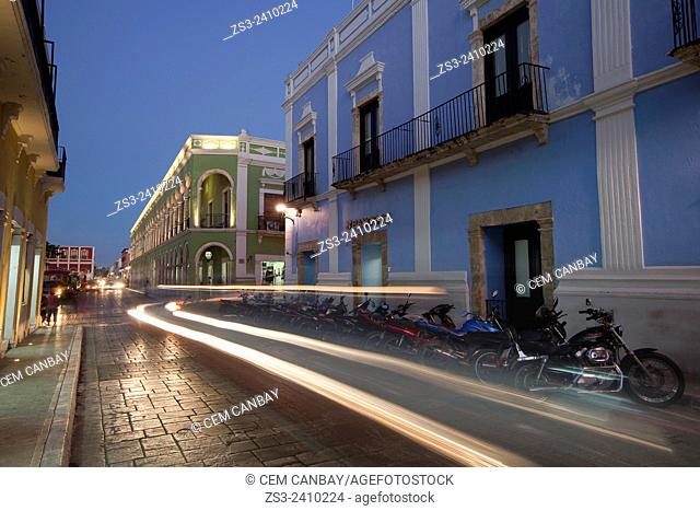 Street scene from the historical center of Campeche by night, Campeche Region, Yucatan, Mexico, Central America