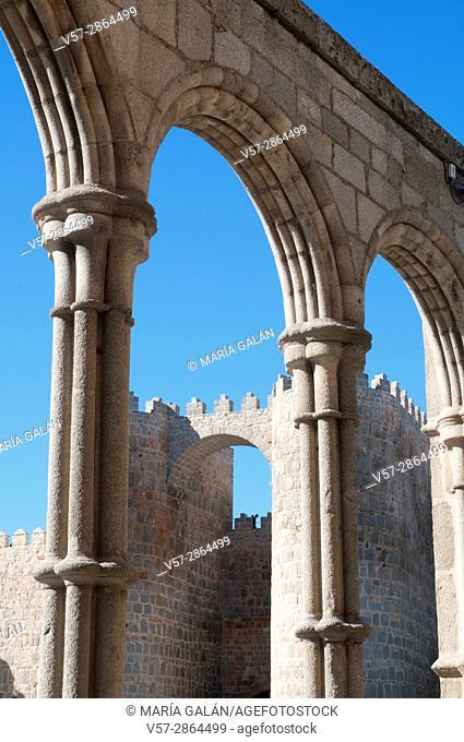 City walls from San Vicente church. Avila, Spain