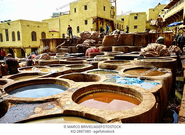 Chaouwara Tanneries in the medina of Fez, Morocco