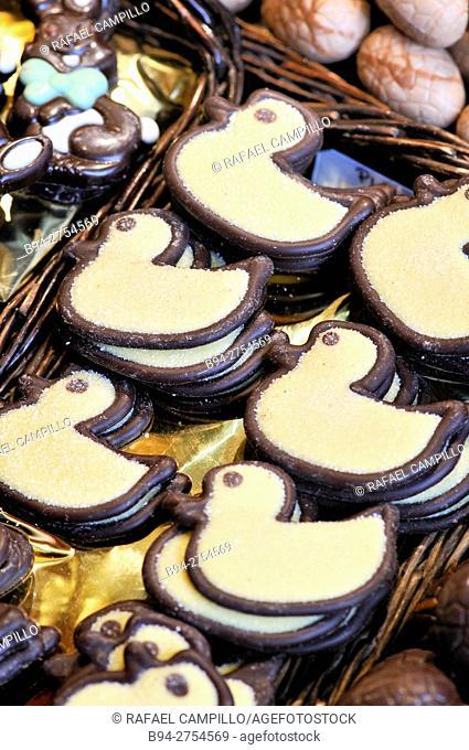 Duck shaped chocolates at la Boqueria market. Barcelona, Catalonia, Spain