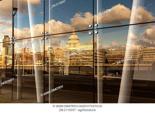 London Skyline with the St.Paul's Cathedral reflected in the window of Blackfriars Station,London,England