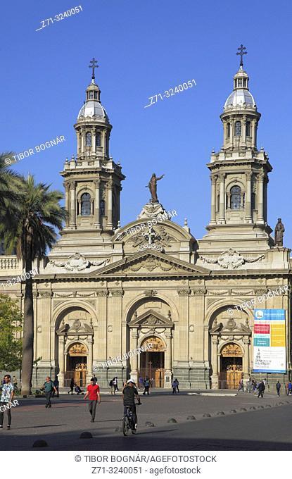 Chile, Santiago, Cathedral, Plaza de Armas,
