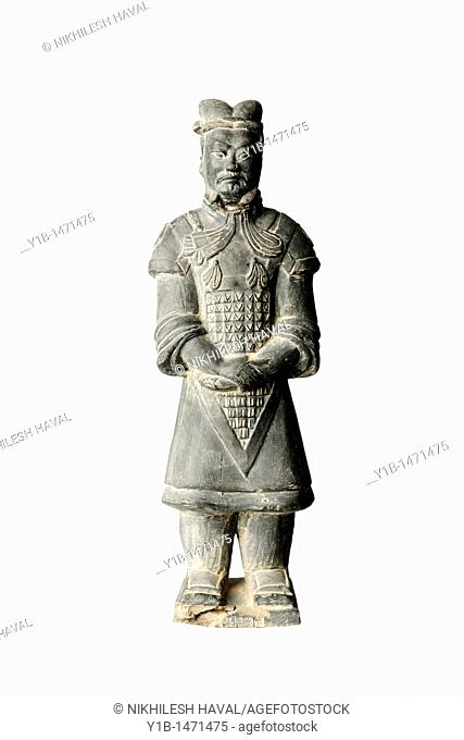 Chinese soldier wooden carved sculpture