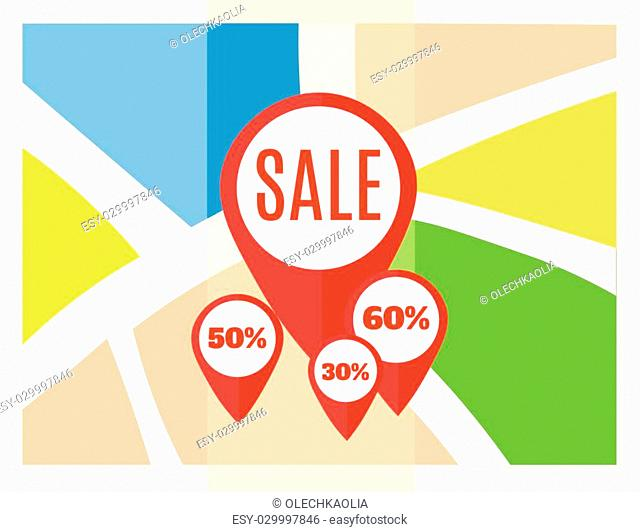 Flat map with sale pins. Vector location pointer icon. Markers on the Map