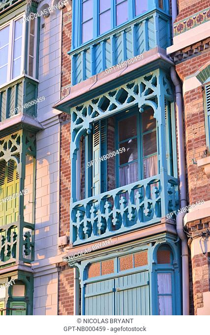 BELLE EPOQUE STYLE VILLAS, TRADITIONAL HOUSES OF MERS-LES-BAINS, SOMME (80), PICARDIE, FRANCE
