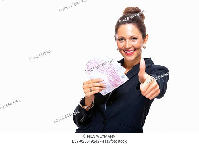 young successful business woman with 500 euro notes in pockets happy laughing