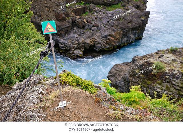 Warning sign on the Barnafossar, on the Hvita River, Iceland