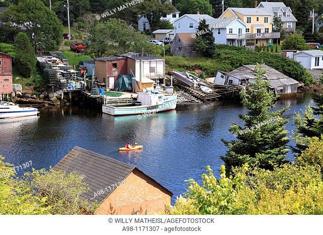 fishing village at sunset, Herring Cove, Nova Scotia, Atlantic Canada