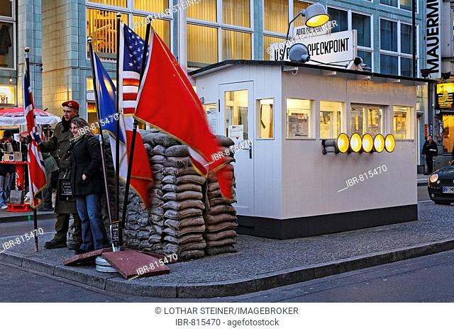 Sentry or watch cabin at Checkpoint Charlie, former border crossing in Berlin, Germany