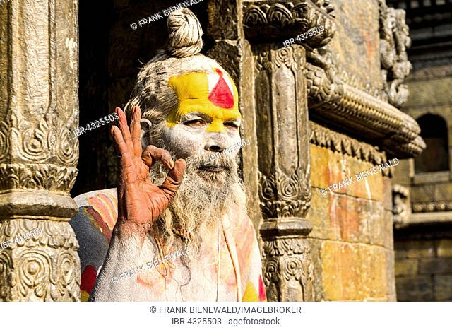 The portrait of a Sadhu, holy man, sitting in a doorway of Pashupatinath Temple, Kathmandu, Nepal