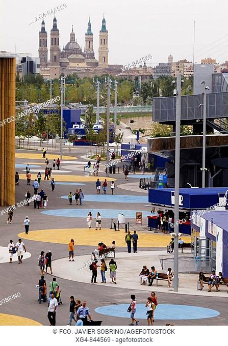 'Water and Sustainable Development' Expo Zaragoza 2008 and El Pilar basilica in background. Zaragoza, Aragon, Spain