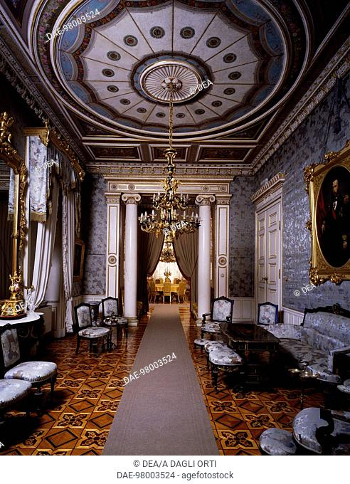 Glimpse of the blue room and the lunch room in the background second floor revoltella museum palazzo revoltella trieste friuli venezia giulia i
