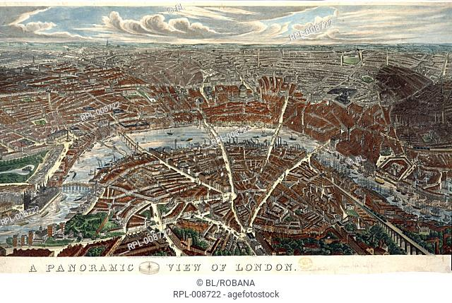 A Panoramic view of London. Image taken from A Panoramic View of London. Drawn & Engraved by J.H. Banks. Originally published/produced in E