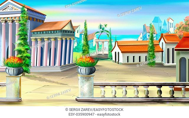 Digital Painting, Illustration of a Ancient City in a Summer day. Cartoon Style Character, Fairy Tale Story Background,