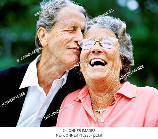 A senior couple laughing, Sweden