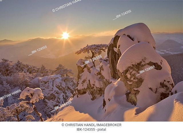 A winter dream at sunset on the Peilstein mountain, Lower Austria, Austria