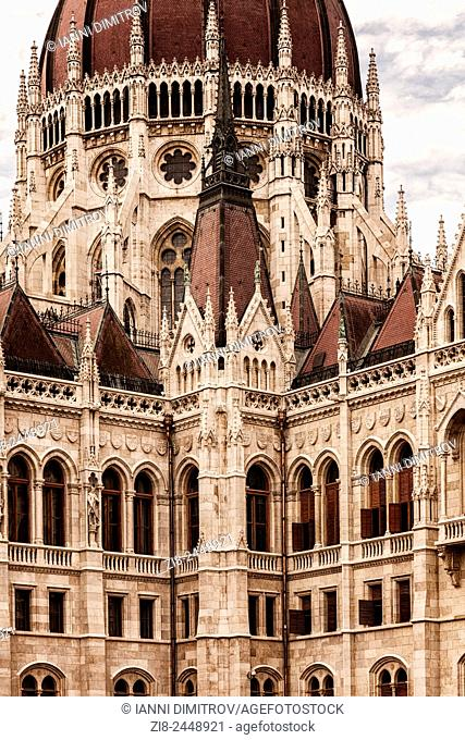 Deatail of the Dome of Hungarian Parliament Building,Kossuth Lajos square,Budapest,Hungary
