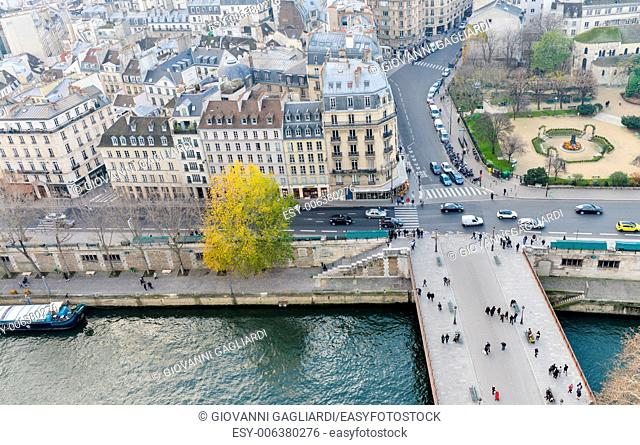 Paris, France. Beautiful city aerial view from the top of Notre Dame