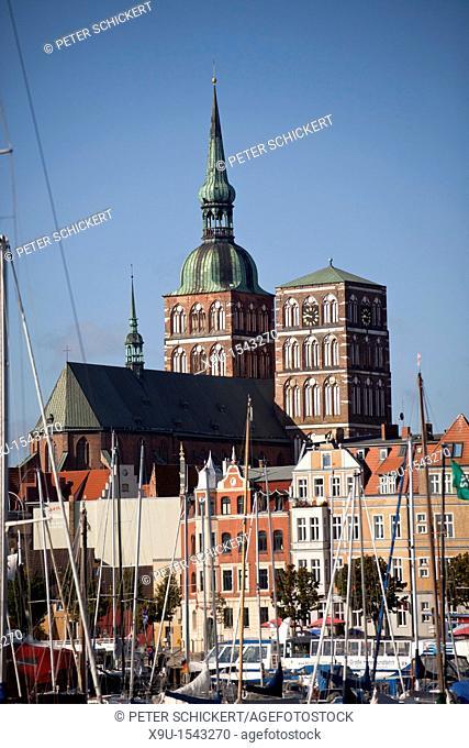 the towers of the Nikolaikirche or St  Nicolas's church, Hanseatic City of Stralsund, Mecklenburg-Vorpommern, Germany