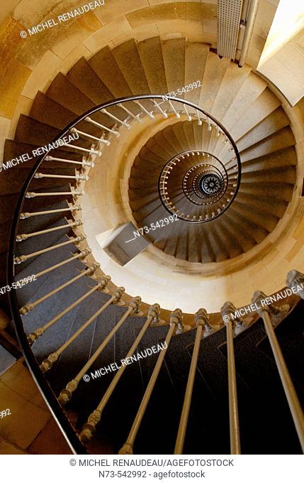 Spiral staircase. Ile de Ré. Poitou-Charentes. Charente-Maritime. France