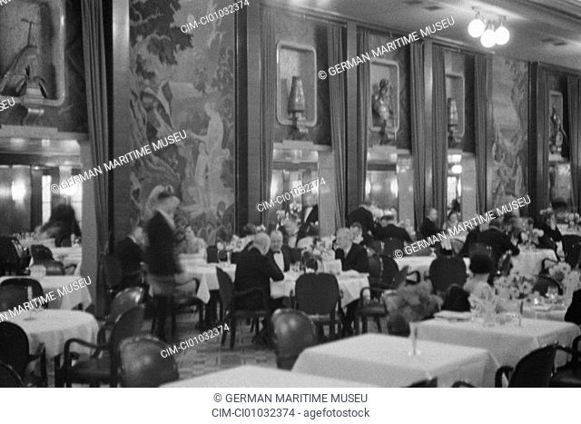 Navigation, North German Lloyd, Ship Columbus, Passenger liner, Sea ship, Steamboat, Steam navigation, Ship, Columbus, Navigation, Dining room, sea journey