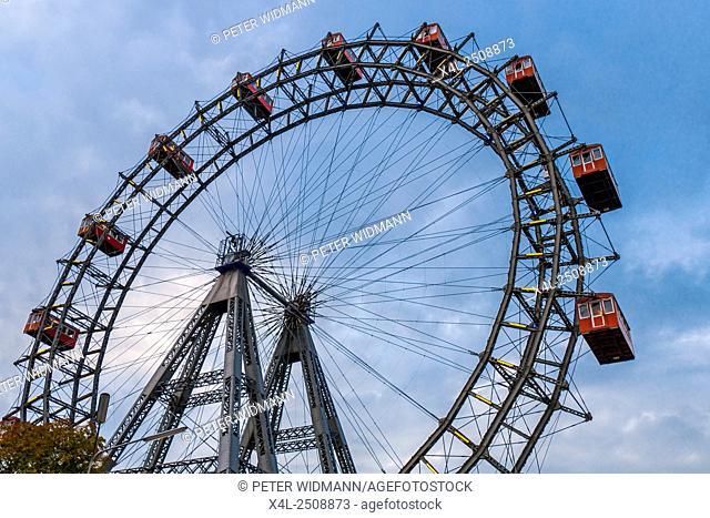 Ferris wheel in the Prater, amusement park, Prater, Vienna, Austria, Europe