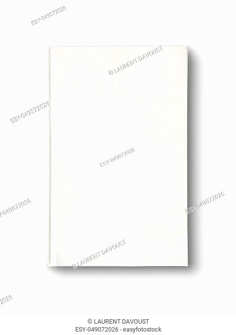 Closed blank dictionary, book mockup, isolated on white. Top view