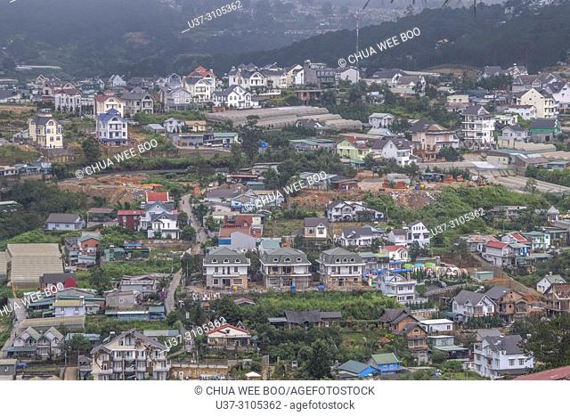 View over the rooftops of Dalat, Central Highlands, Vietnam, Asia