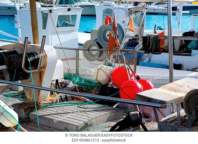 Balearic islands professional fisher boats in Formentera