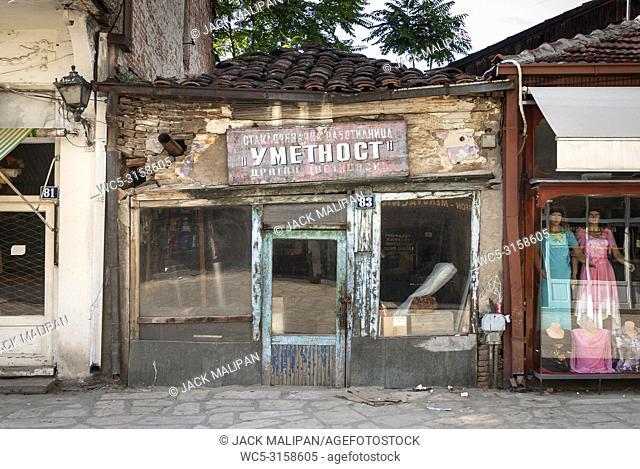 streeet in old bazaar old town tourist area of skopje macedonia