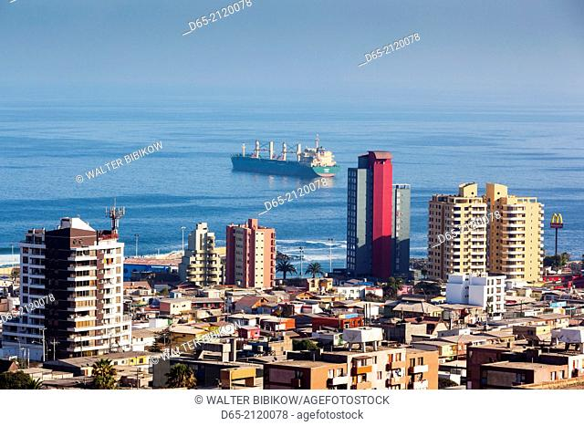 Chile, Antofagasta, elevated city view
