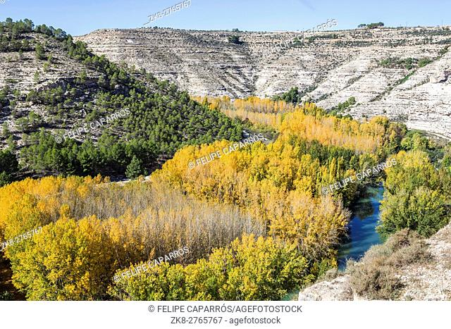 Panoramic view of the valley of the river Jucar during autumn, take in Alcala of the Jucar, Albacete province, Spain