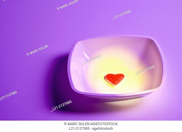 Red heart in a plate