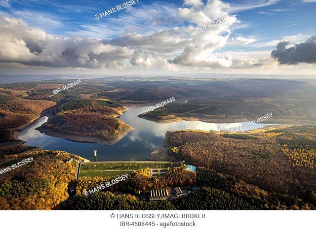 Wehebachtalsperre dam between Hürtgenwald in the district of Düren and Stolberg in the city region of Aachen, Steinschüttdamm, drinking water supply