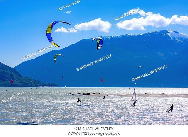 Kite boarders, Squamish, British Columbia, Canada
