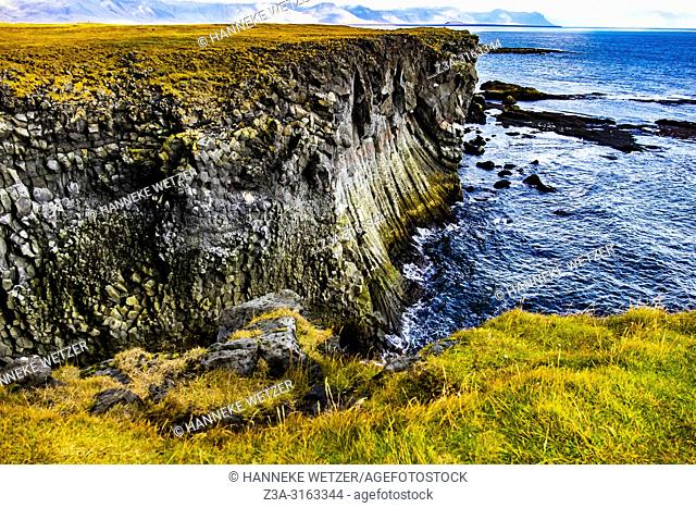 Columnar basalt cliffs at Arnarstapi in Iceland