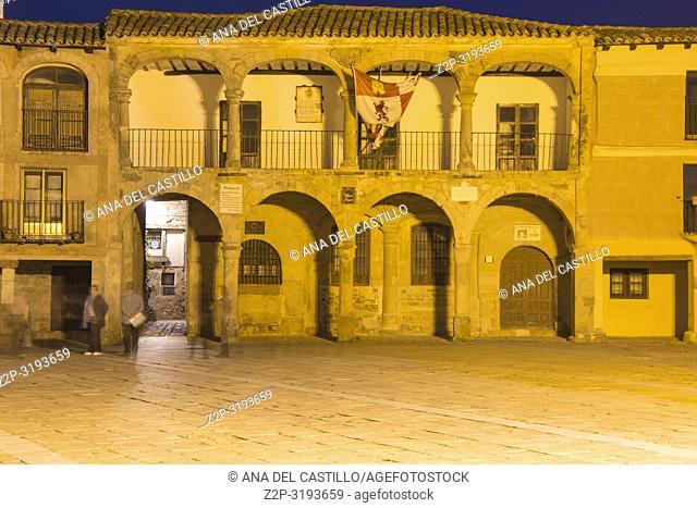 Medieval building at Main square of Medinaceli by twilight, Soria province, Castilla-Leon, Spain