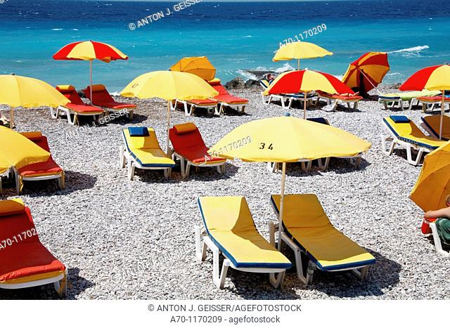 No people sunbathing at the beach , rhodes greece