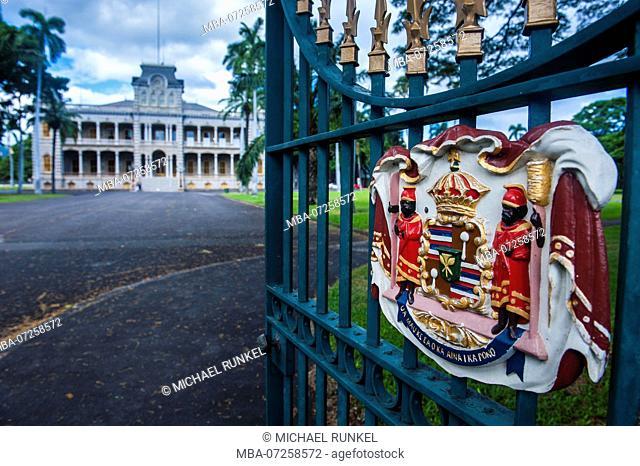 Royal signs before the Iolani Palace, Honolulu, Oahu, Hawaii