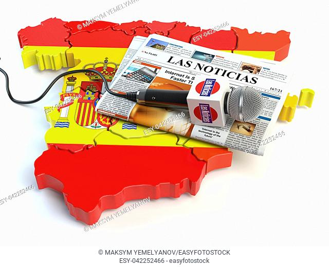 "Spanish news, press and journalism concept. Microphone and newspaper with headline """"Las Noticias"""" (spanish for: news)on the map in colors of the flag of Spain"