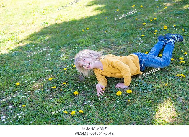 Laughing boy lying in meadow