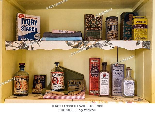 Older laundry room products on a shelf in a heritage display house in Steveston, British Columbia